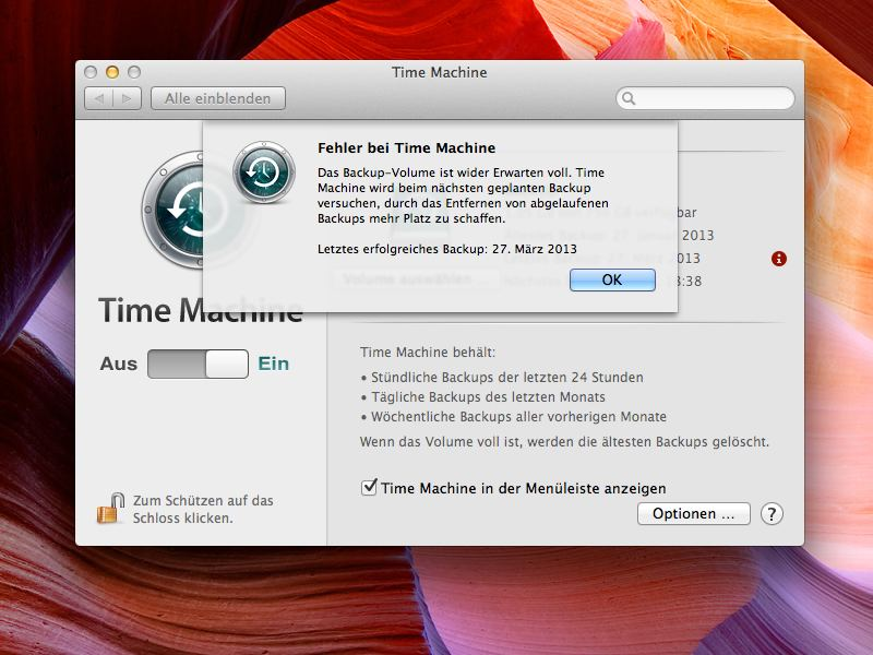 Time Maschine Backup voll