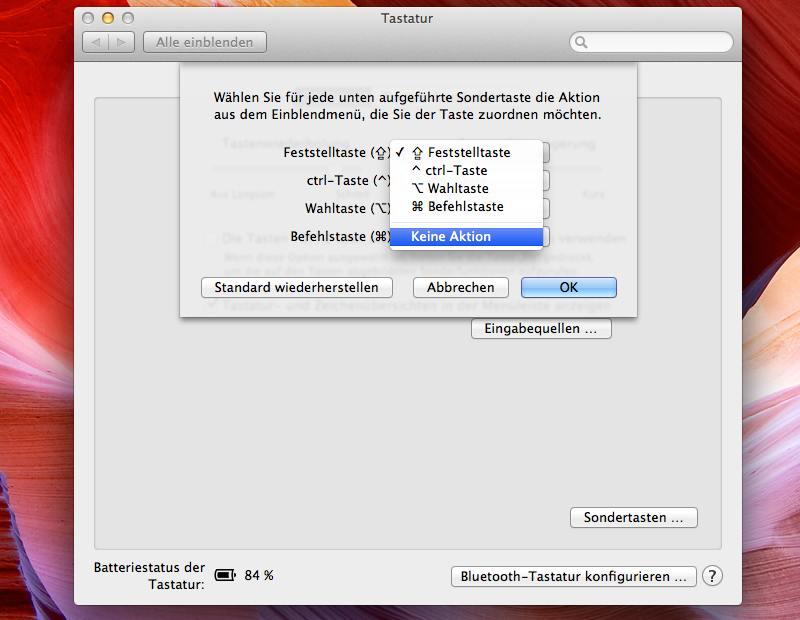 Caps-Lock am Mac deaktiviert