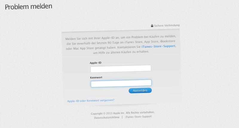 Rückerstattung von Einkäufen im Apple App-Store