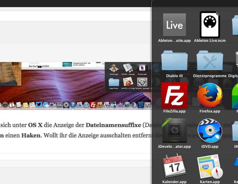 Dateinamenserweiterung OS X